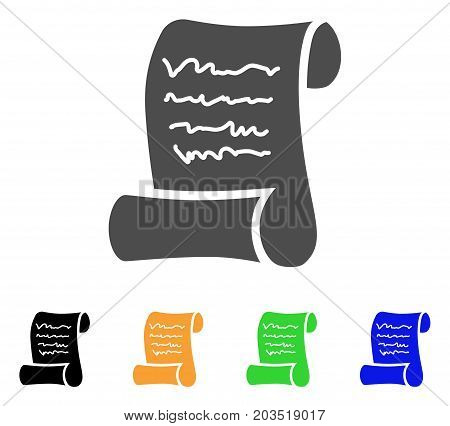 Script Roll icon. Vector illustration style is a flat iconic script roll symbol with black, grey, green, blue, yellow color versions. Designed for web and software interfaces.