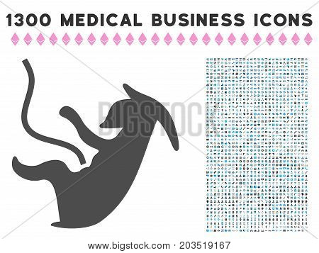 Alien Embryo grey vector icon with 1300 medicine commerce symbols. Set style is flat bicolor light blue and gray pictograms.