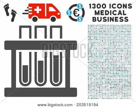 Analysis Test-Tubes gray vector icon with 1300 health care business pictograms. Set style is flat bicolor light blue and gray pictograms.
