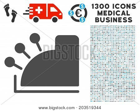Cash Register gray vector icon with 1300 doctor business symbols. Clipart style is flat bicolor light blue and gray pictograms.