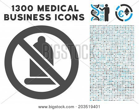 Condom Forbidden gray vector icon with 1300 healthcare commercial symbols. Collection style is flat bicolor light blue and gray pictograms.