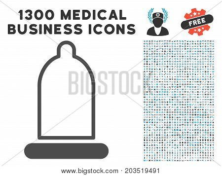 Condom gray vector icon with 1300 doctor business icons. Set style is flat bicolor light blue and gray pictograms.