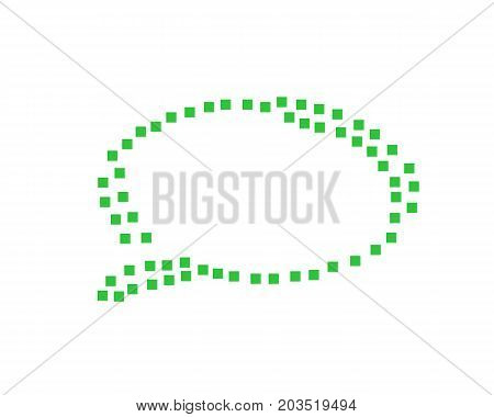 speech bubble with small squares, speech bubble logo, illustration design, isolated on white background