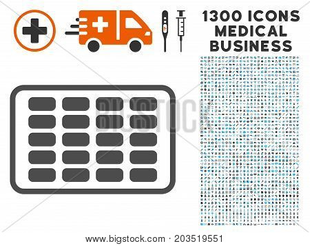 Contraceptives Blister grey vector icon with 1300 medicine commercial pictographs. Collection style is flat bicolor light blue and gray pictograms.