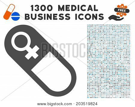 Female Pill gray vector icon with 1300 medical commercial symbols. Collection style is flat bicolor light blue and gray pictograms.
