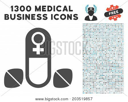 Female Power Tablets grey vector icon with 1300 health care business pictograms. Set style is flat bicolor light blue and gray pictograms.