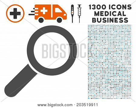 Find gray vector icon with 1300 healthcare business pictograms. Clipart style is flat bicolor light blue and gray pictograms.