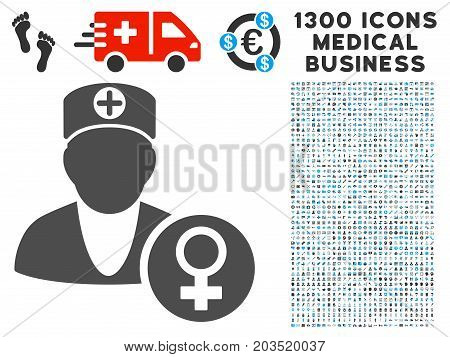 Gynecology Doctor grey vector icon with 1300 medicine commercial pictograms. Set style is flat bicolor light blue and gray pictograms.
