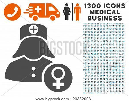 Gynecology Lady Doctor gray vector icon with 1300 medical business pictograms. Collection style is flat bicolor light blue and gray pictograms.