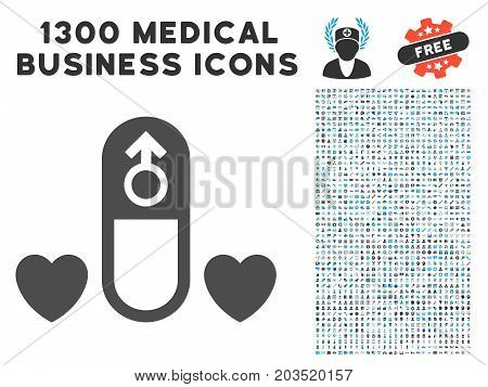 Love Medication Pill gray vector icon with 1300 health care commercial pictograms. Clipart style is flat bicolor light blue and gray pictograms.