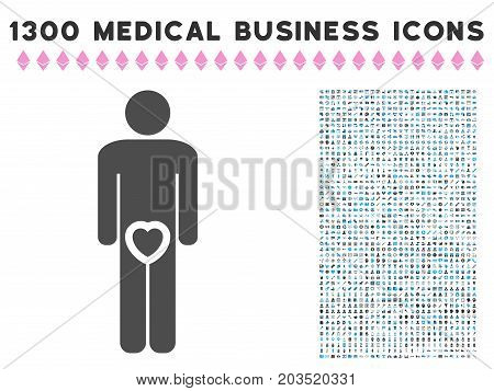 Male Love Genitals gray vector icon with 1300 doctor commercial symbols. Set style is flat bicolor light blue and gray pictograms.