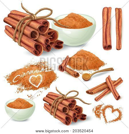 Set of cinnamon sticks and ground on powder cinnamon in ceramic bowl and scattered around hand drawn vector isolated on white background. Sweet spicy seasoning illustration for recipes, menus design