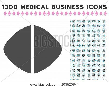 Medical Tablet gray vector icon with 1300 medical commerce icons. Set style is flat bicolor light blue and gray pictograms.