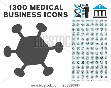 Parasite Microbe grey vector icon with 1300 medicine commerce icons. Clipart style is flat bicolor light blue and gray pictograms.