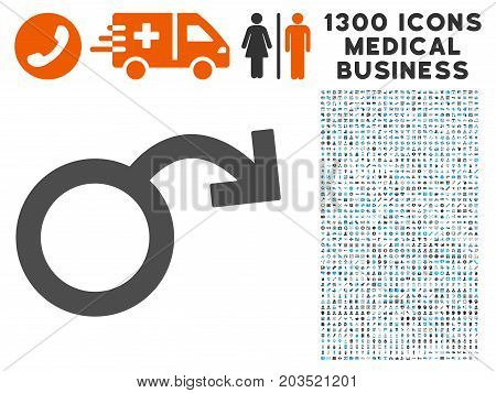 Sexual Impotence grey vector icon with 1300 doctor business pictographs. Clipart style is flat bicolor light blue and gray pictograms.