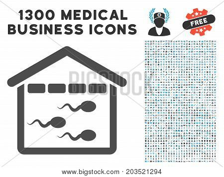 Sperm Bank grey vector icon with 1300 medical commercial symbols. Collection style is flat bicolor light blue and gray pictograms.