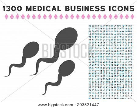 Sperm grey vector icon with 1300 medical commercial icons. Set style is flat bicolor light blue and gray pictograms.