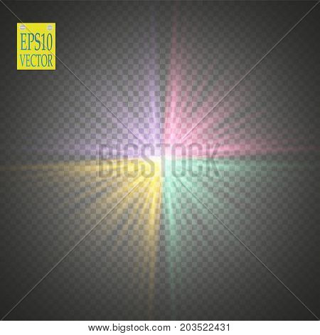 Glow light effect. Colored starburst with sparkles on transparent background. Vector illustration. Sun