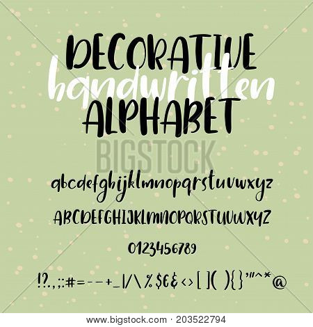 Handwritten vector font. Modern calligraphy aphabet. Lowercase, uppercase. Typography alphabet for your designs: logo, typeface, banner, card, wedding invitation.