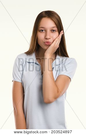 Beautiful  Woman Gesticulating. Casual Girl Portrait. Young Attractive Woman. Studio Shot.