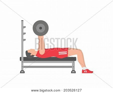 Man pumping up muscles on bench press