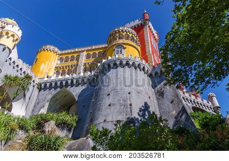 Must see of Portugal Pena National Palace in Sintra Palacio Nacional da Pena. Portuguese architecture background. Bottom view