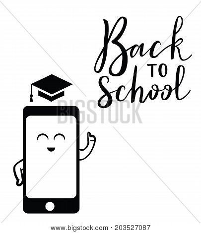Back to school virtual postcard, banner design, holiday greeting for social media post, ads, poster, email, card. Lettering title.