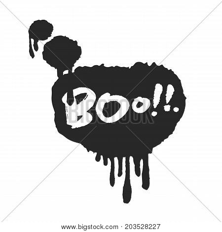 Calligraphy hand written halloween Boo in speech bubble with flowing inky drops. Based on ink and brush artwork. Isolated on white background. Clipping paths included.