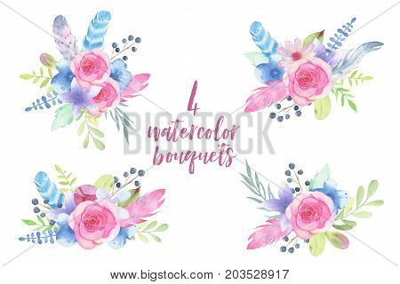Watercolor hand painted flower wedding bouquet with feathers and leaves isolated on white background. Floral illustration arrangement. Botanical art
