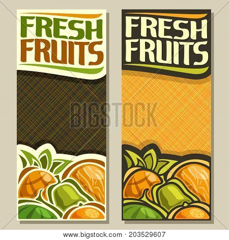 Vector vertical banners for Fresh Fruits with copy space: pineapple, melon, green pear, juicy watermelon, orange, fruit mix, layout with original font for text fresh fruits with abstract background.