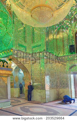 Fars Province Shiraz Iran - 18 april 2017: Muslims pray inside Mosque of Sayyed Alaeddin Hossein.