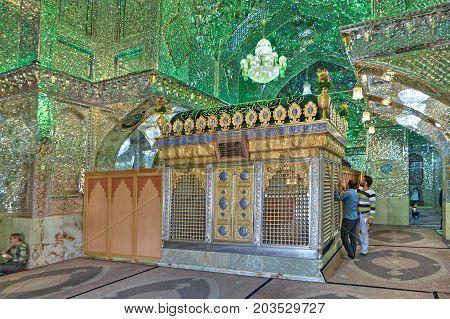 Fars Province Shiraz Iran - 18 april 2017: Muslims worship of Seyed Alaedin Hossein tomb.