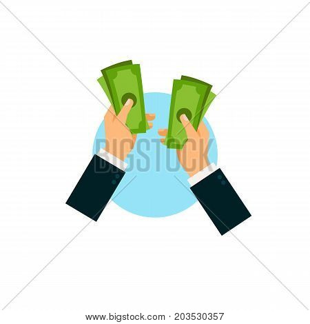 Vector icon of hands of businessman counting money. Donation, investment, salary. Taxation concept. Can be used for topics like business, banking, finance