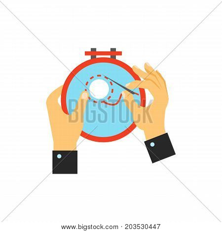 Vector icon of hands embroidering with tambour. Embroidery, needlewoman, handicraft. Handmade concept. Can be used for topics like hobby, leisure, creativity
