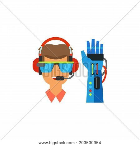 Vector icon of man wearing VR headset and glove. Virtual reality equipment, gamer, entertainment. Virtual reality concept. Can be used for topics like technology, innovation, leisure