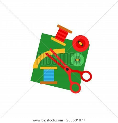 Vector icon of buttons, scissors, spools and fabric. Sewing, needlework, tailoring. Handmade concept. Can be used for topics like hobby, leisure, creativity