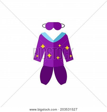 Vector icon of pajamas and mask. Sleeping clothes, night, sleeping suit. Sleeping concept. Can be used for topics like bedtime, fashion, home clothes