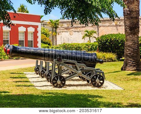 Old Iron cannons at the Naval Dockyward in Bermuda