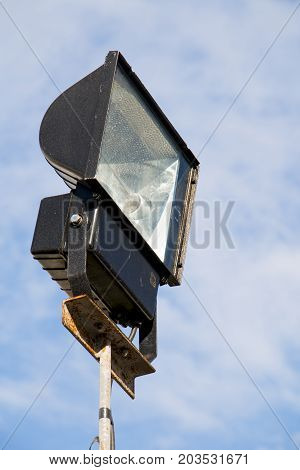 Closeup of reflector on blue sky background.