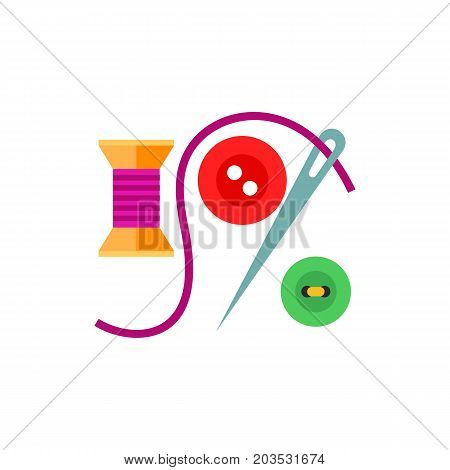 Vector icon of spool, needle and buttons. Needlework, handicraft, tailoring. Handmade concept. Can be used for topics like hobby, leisure, creativity