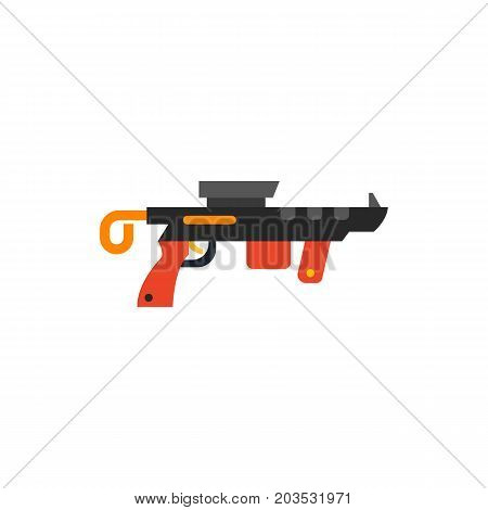 Vector icon of virtual reality gun. Weapon, toy gun, armor. Virtual reality concept. Can be used for topics like army, technology, video games