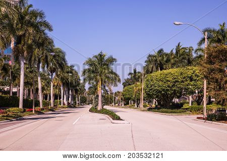 Park Shore Naples. Florida. Luxury coastline with hotels and palm trees in Naples. USA