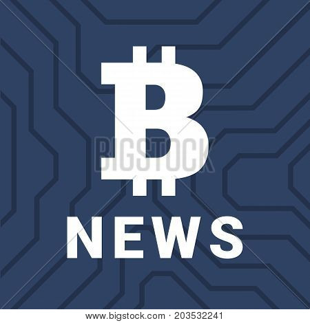 Social Illustration With News Of Cryptocurrency. Big Bitcoin Illistration.