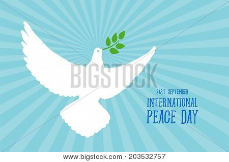 International Day of Peace, beautiful card poster with white dove, green branch text word. Hand drawn design elements. Handwritten modern brush lettering blue background isolated vector