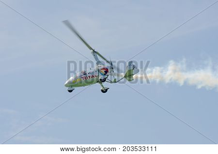 Clacton Essex United Kingdom -25 August 2017: Gyro copter flying over Clacton in annual free air display
