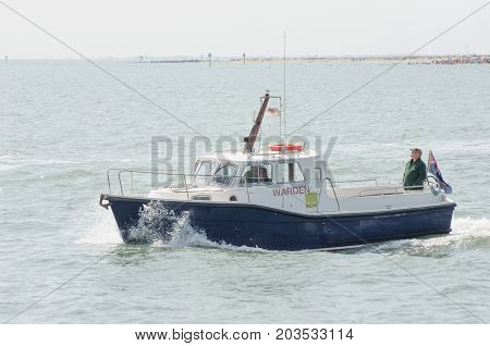 Clacton Essex United Kingdom -25 August 2017: Coastguard boat