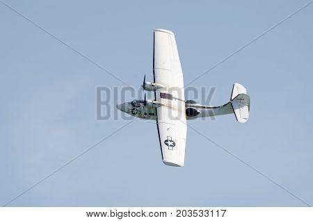Clacton Essex United Kingdom -25 August 2017: Catalina seaplane in World War II U.S. Navy colors