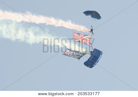 Clacton Essex United Kingdom -25 August 2017: British Army Parachutists above Clacton free airshow