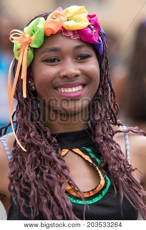 June 17 2017 Pujili Ecuador: female dancer closeup at the Corpus Christi annual parade