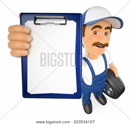 3d working people illustration. Mechanic with a blank clipboard. Isolated white background.